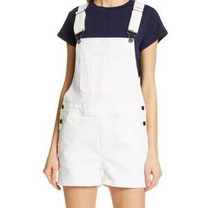 FRAME White Denim Le Garcon Short Overalls, Sz XL